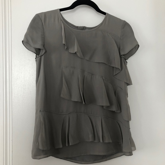 NWT Banana Republic Grey Silk Blouse  Sz. XS